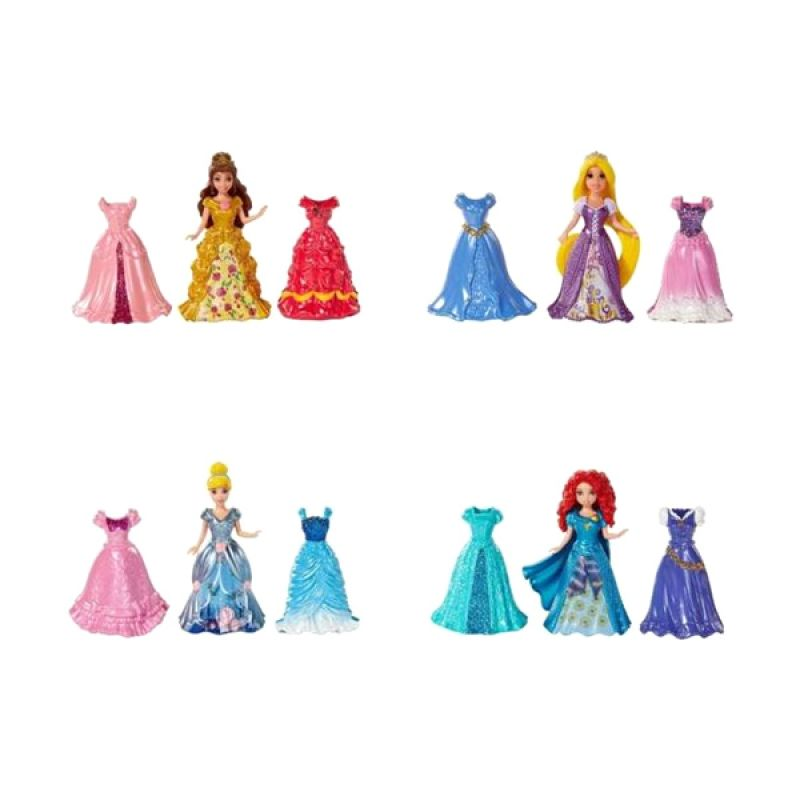Disney Princess Magic Clip Fashions Set (4 Dolls + 12 Dress) Original Item