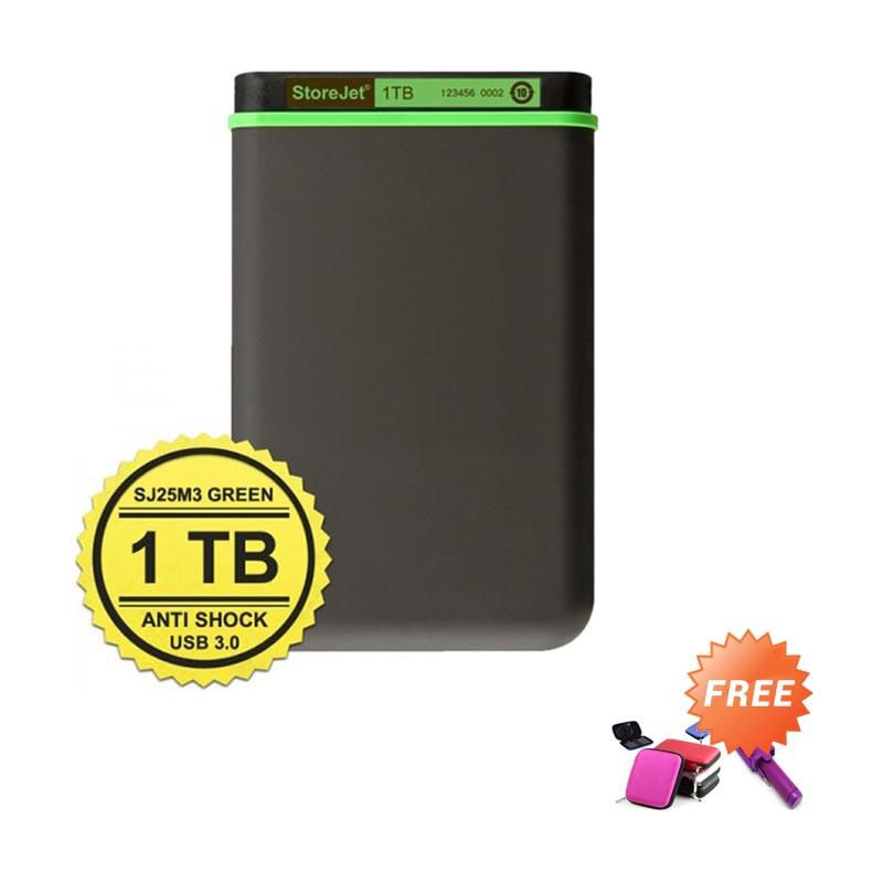 harga Transcend Antishock 25M3 Green Hard Disk Eksternal [1 TB] Case HDD + Tongsis Mini Lipat Blibli.com