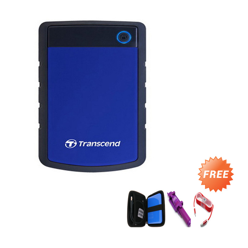 harga Transcend Antishock 25H3B Biru Hard Disk Eksternal [1 TB] + Case HDD + Tongsis Mini Lipat + Kabel Charger Micro Tali Warna Blibli.com