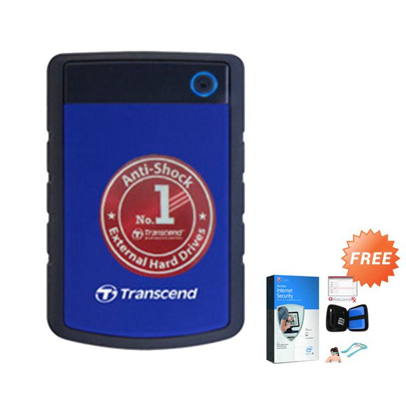 Transcend Antishock StoreJet 25H3B Blue Harddisk Eksternal [1TB] + Gratis Case hdd + Alat pijit + Anti virus