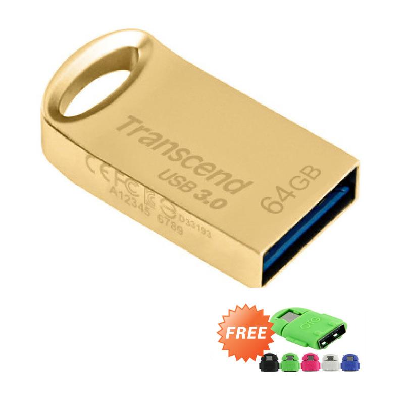 harga Transcend JF710G Flashdisk - Gold [64 GB/USB 3.0] + Free OTG Android Blibli.com