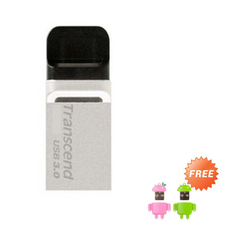 harga Transcend JF880 Dual Flashdisk - Silver [16 GB] + Free Card Reader Mini Android Blibli.com