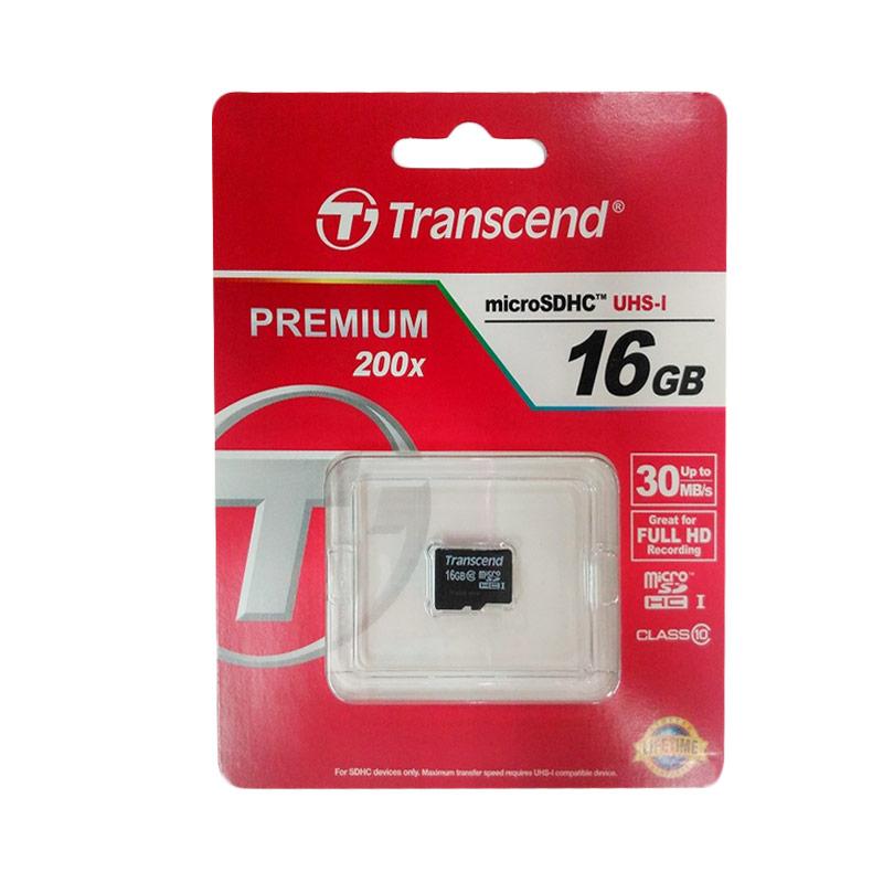 harga Transcend Premium SDHC UHS-I Micro SD Memory Card [Class 10/30MB/s/16GB] Blibli.com