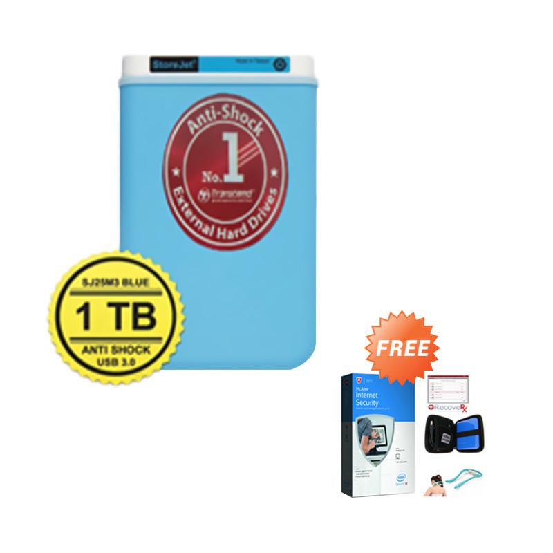 harga Transcend Storejet 25H3B Biru Hard Disk Eksternal [1 TB/Antishock] + Case HDD + Alat pijat + Anti virus Blibli.com