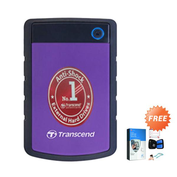 Transcend Storejet 25H3P Hard Disk Eksternal [2 TB/Antishock] + Gratis Case HDD + Alat pijat + Anti virus