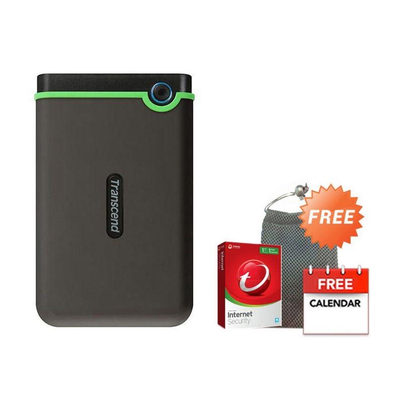 Transcend Storejet Hijau Hard Disk Eksternal [500 GB] + Pouch + Anti Virus + Kalender