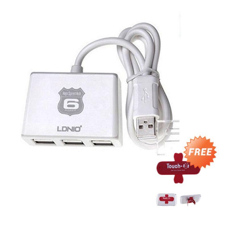 LDNIO DL-H6 Putih USB HUB [6 Port] + Stand Touch U