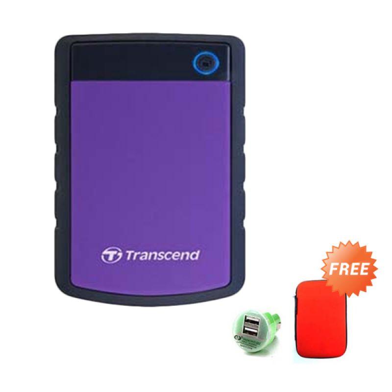 Transcend 25H3P Antishock StoreJet Purple Harddisk Eksternal [1 TB] + Casing + Car Charger
