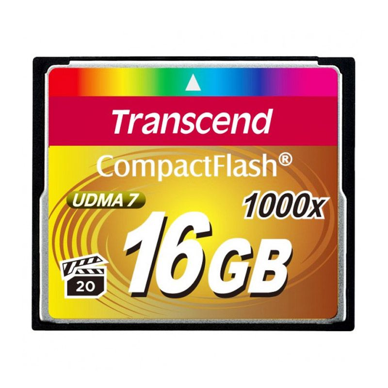 Transcend Compact Flash 1000x 16 GB Hitam Memory Card
