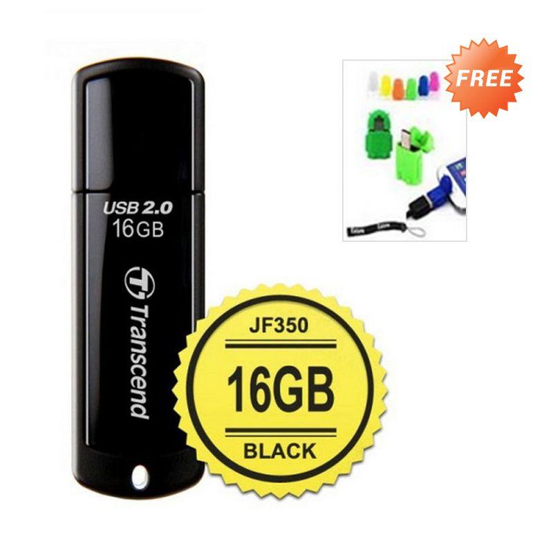 Transcend JetFlash 350 Hitam Flashdisk [16 GB] + OTG