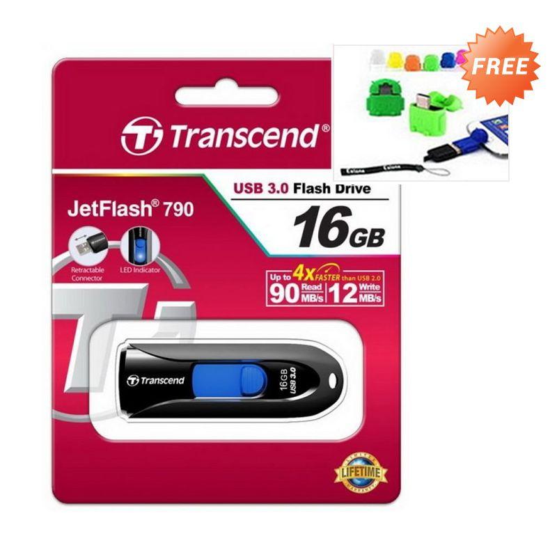 Transcend JetFlash 790 Hitam Flashdisk + OTG [16 GB]