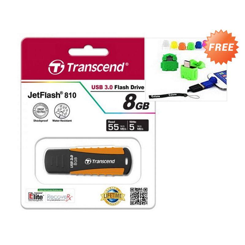 Transcend JetFlash 810 Jingga Flashdisk [USB 3.0/8 GB] + OTG