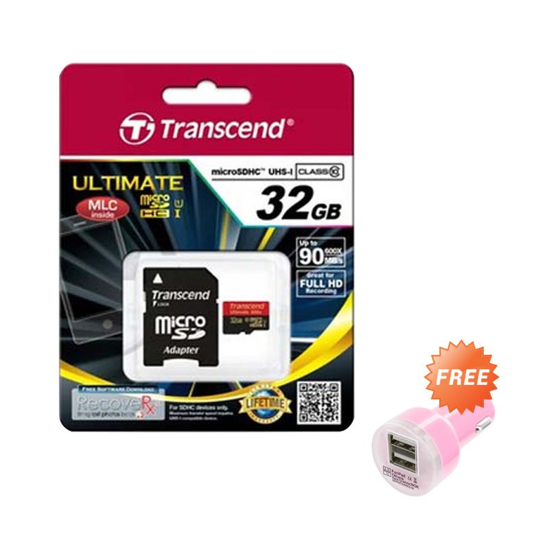 Transcend Micro SDHC UHS-I 600x Merah Memory Card [32 GB] + Car Charger