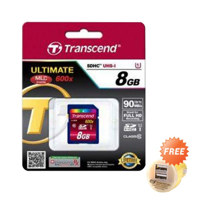 Transcend SDHC10 UHS-1 600X Memory Card [8 GB] + Car Charger