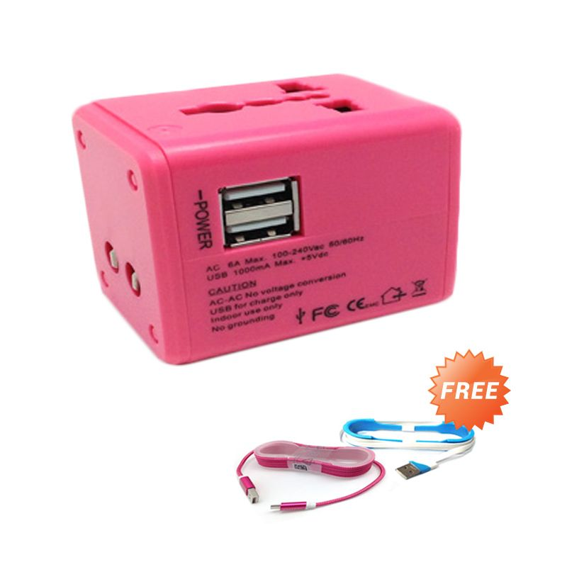 Trend's Universal Pink Travel Charger [1.1 A]+ Kabel Micro Tali + Kabel 2 in 1