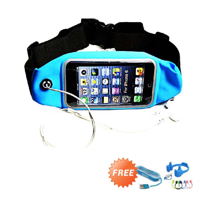 harga Trend's Tas Sports Running Gym Waist Belt Bag Case [Siz L] - Biru + Gratis Ok Stand + Kabel micro Usb Tali Warna Blibli.com