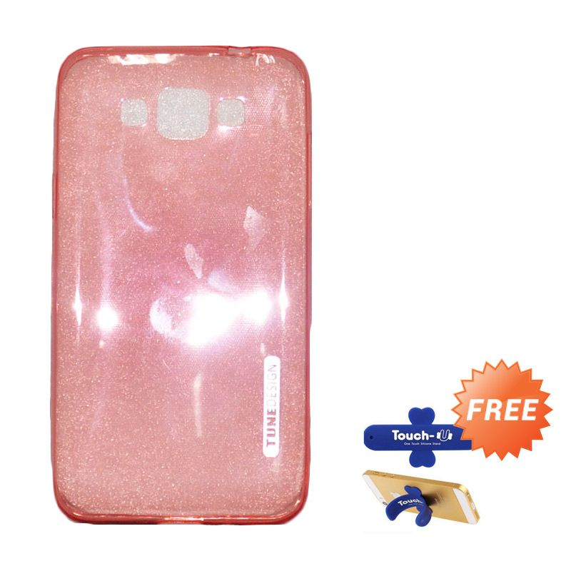 Tunedesign Lite Air Peach Casing for Samsung Galaxy Grand Max + Touch U Stand