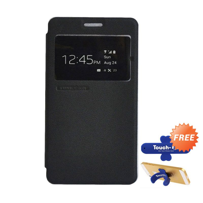 Tunedesign FolioAir Black Casing for Samsung Galaxy A7 + Touch U Stand
