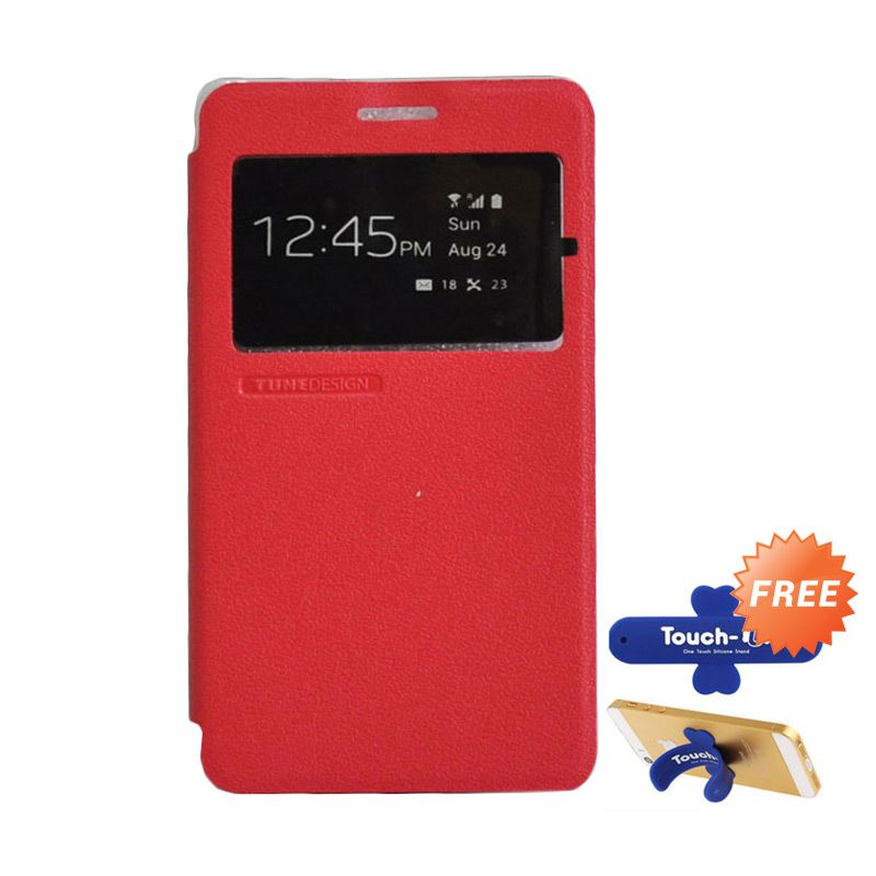 Tunedesign FolioAir Red Casing for Samsung Galaxy A7 + Touch U Stand