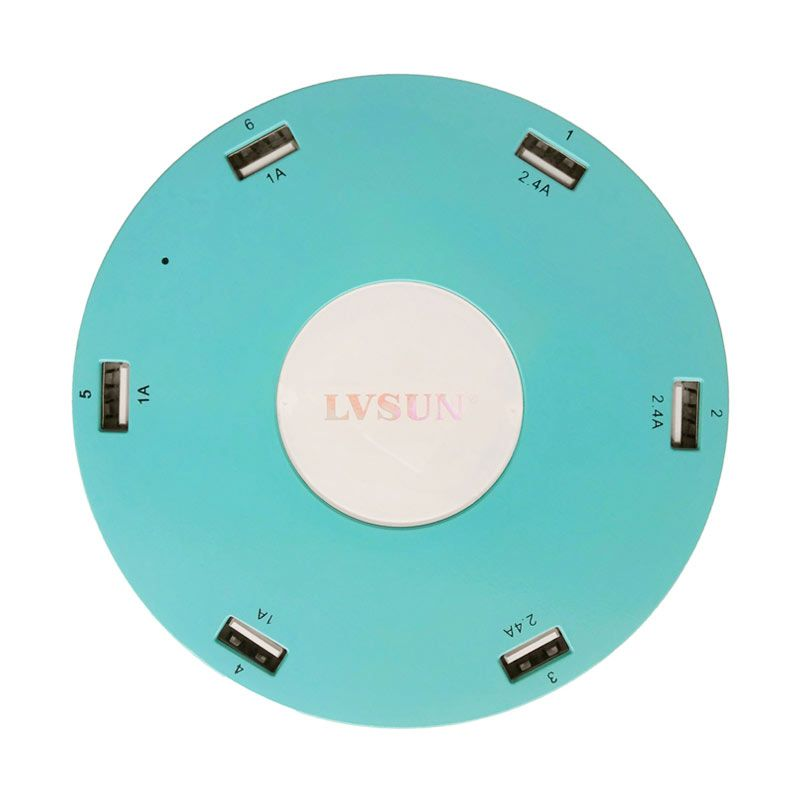 LVSUN 6 USB Charger 10.2A Biru