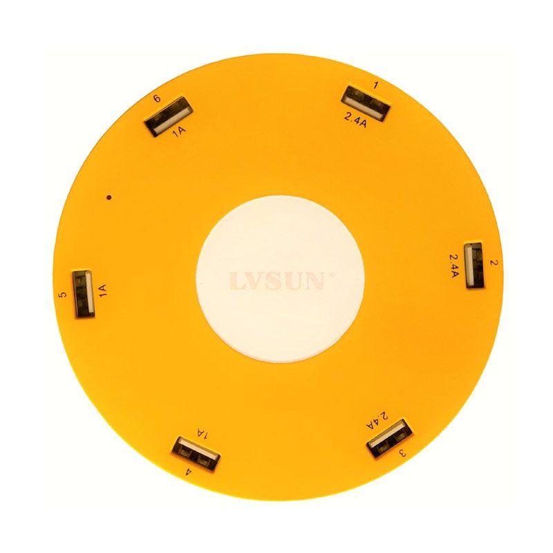 LVSUN 6 USB Charger 10.2A Kuning