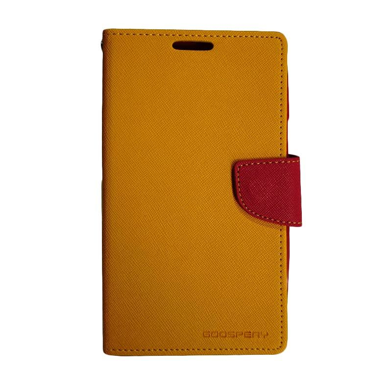 Mercury Fancy Diary Yellow Red Casing for Galaxy Note 2