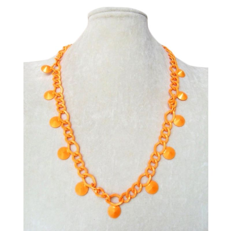 Trinket Box Neon Link Orange Necklace