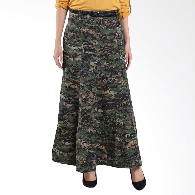 Triset Pleated With Belt TN300470809 Olive Rok