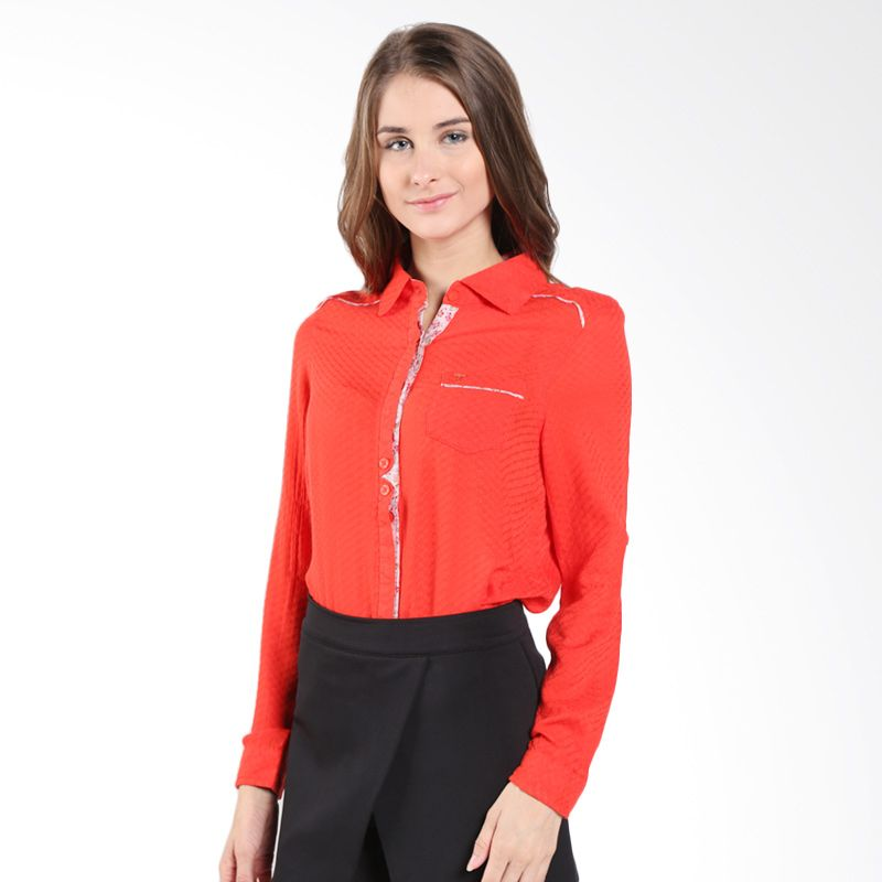 Triset Signature Placket Rolled Up Sleeve 429 TR304290028 Red Blouse Wanita