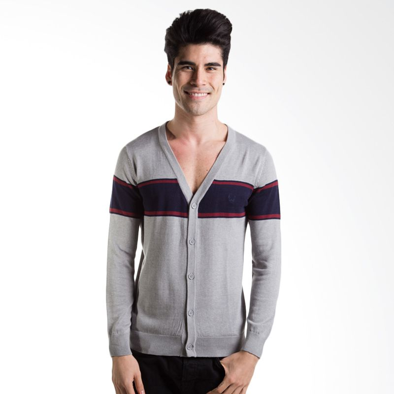 Man Club Rajut MOC5227G1 Light Grey Cardigan Pria