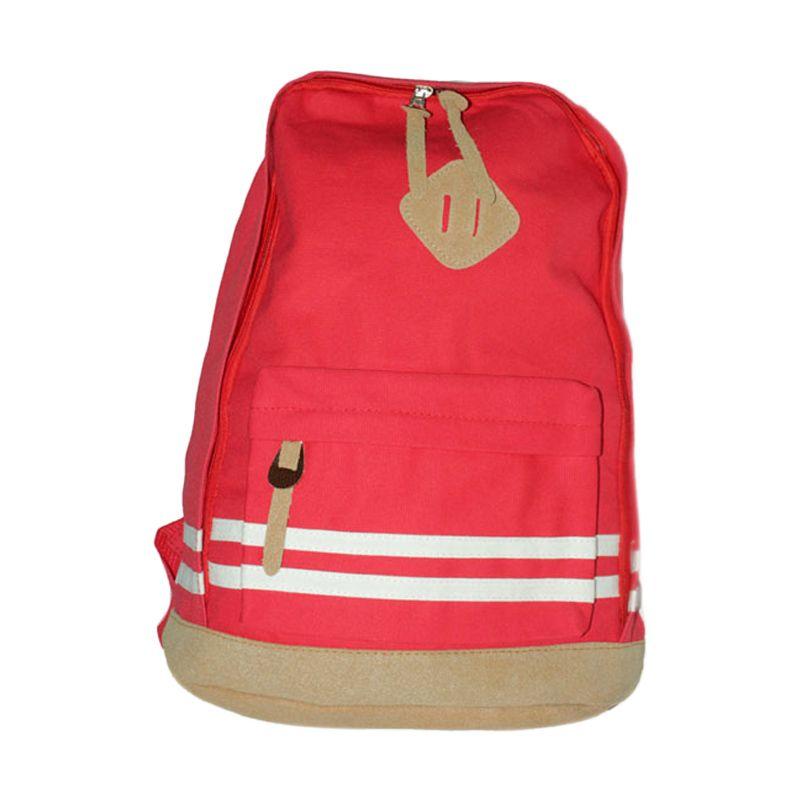 Troos Bag Korea Style Simple Casual A018 Red Tas Ransel