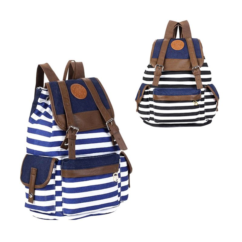Troos Bag Korea Style Casual Stripe BW A047 Dark Blue Tas Ransel