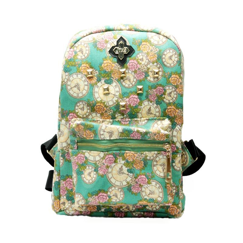 Troos Bag Korea Style Flowery Clock A034 Green Tas Ransel