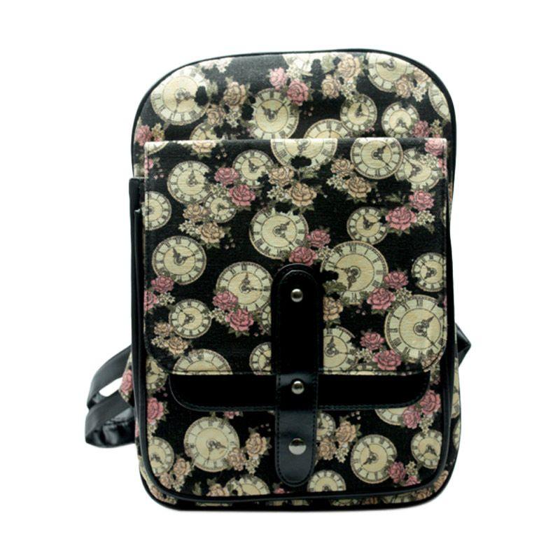 Troos Bag Korea Style Flowery Clock A039 Black Tas Ransel