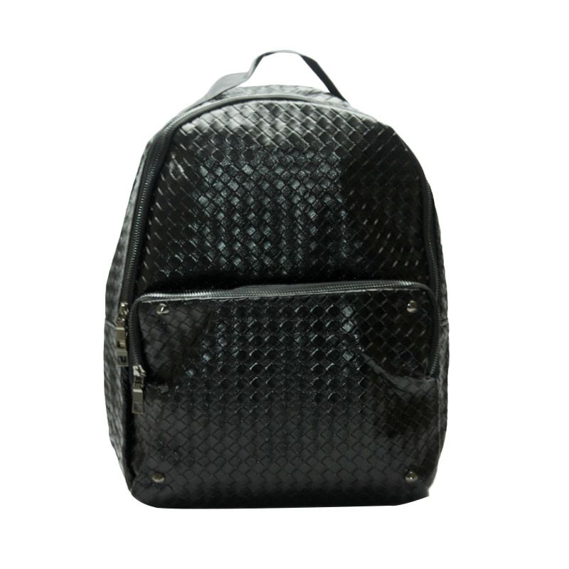 Troos Bag Korea Style Unisex Leather Webbing A058 Black Tas Ransel