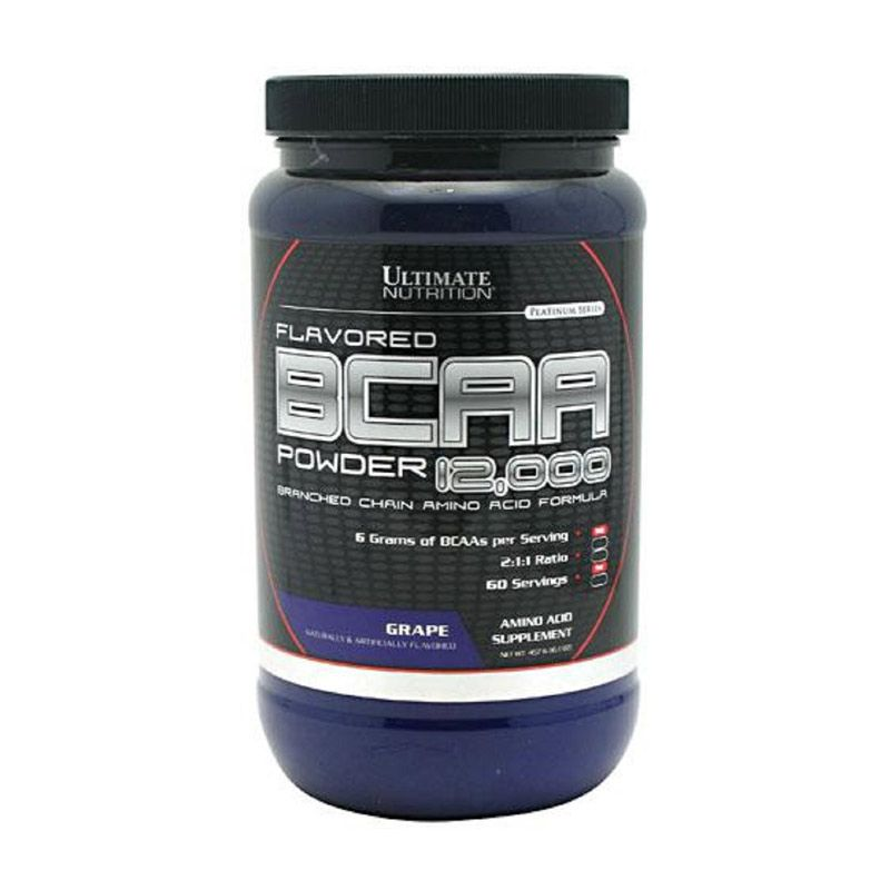 Ultimate Nutrition BCAA 12000 Powder Flavored Grape Suplemen Kesehatan [457 gr]