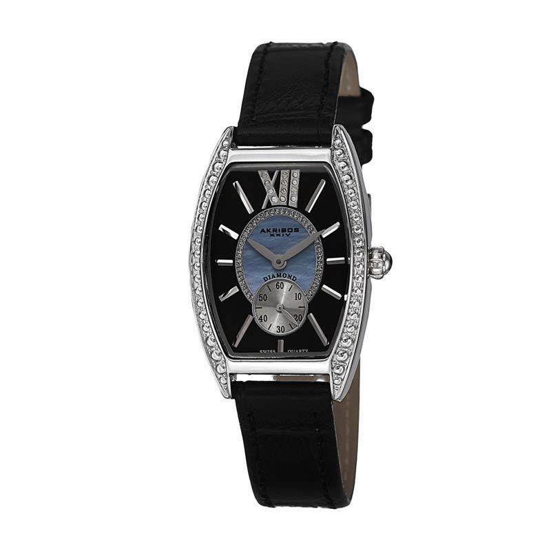 Akribos XXIV Swiss Diamond Black Jam Tangan wanita