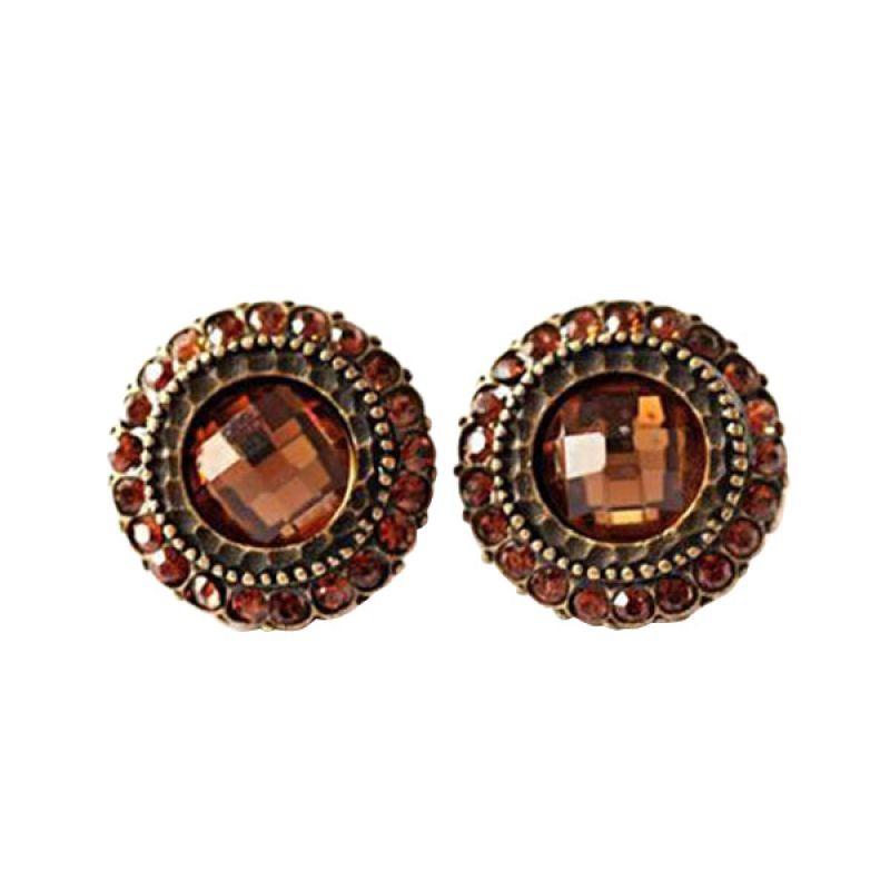 Twiinkles Shining Flower Stone Earrings Smoked Topaz (2070042)