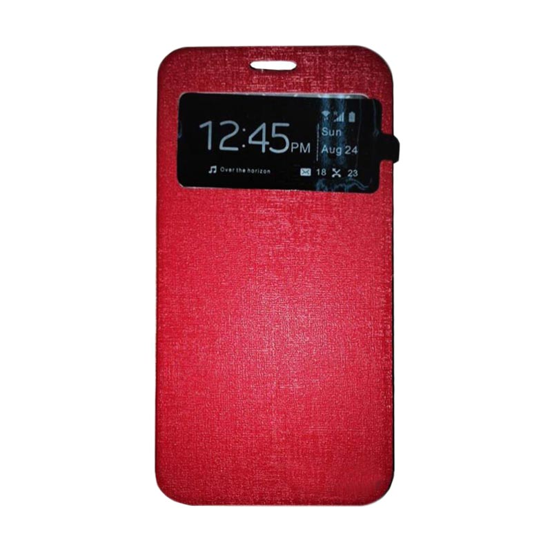 harga Ume Flip Cover Casing for Alcatel Flash 2 Flipshell / Leather Case / Sarung HP / Sarung Handphone / View - Merah Blibli.com