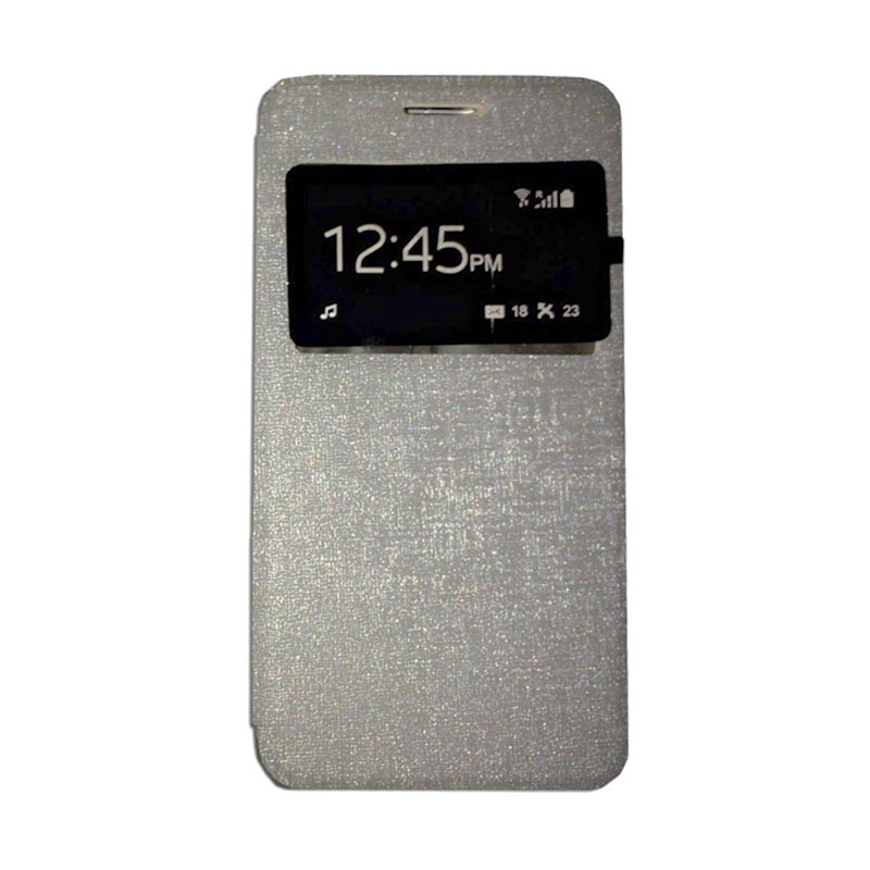 harga Ume Flip Cover Casing for Alcatel Flash 2 Flipshell / Leather Case / Sarung HP / Sarung Handphone / View - Silver Blibli.com