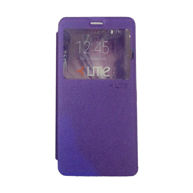 harga Ume Flip Cover Casing for Alcatel Flash 2 Flipshell / Leather Case / Sarung HP / Sarung Handphone / View - Ungu Blibli.com