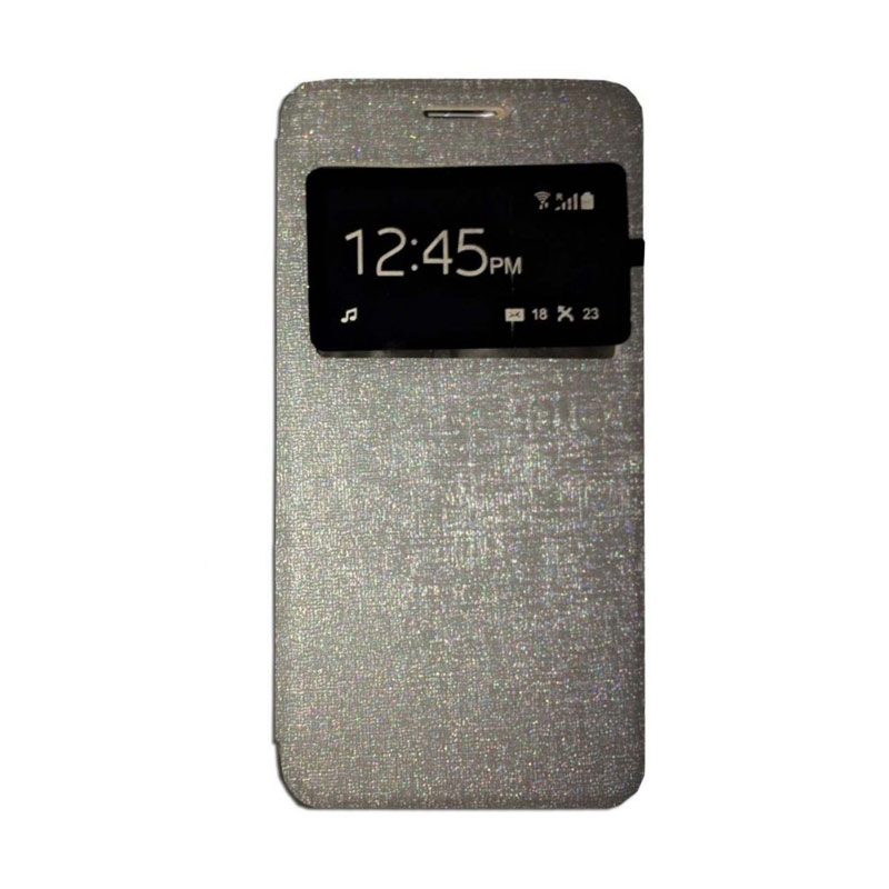 harga Ume Flip Cover Casing for Huawei Ascend Y511 Flipshell / Leather Case / Sarung HP / Sarung Handphone / View - Silver Blibli.com