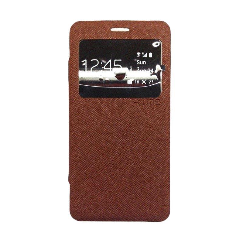 Ume Flip Cover Casing for Samsung Galaxy E5 - Coklat