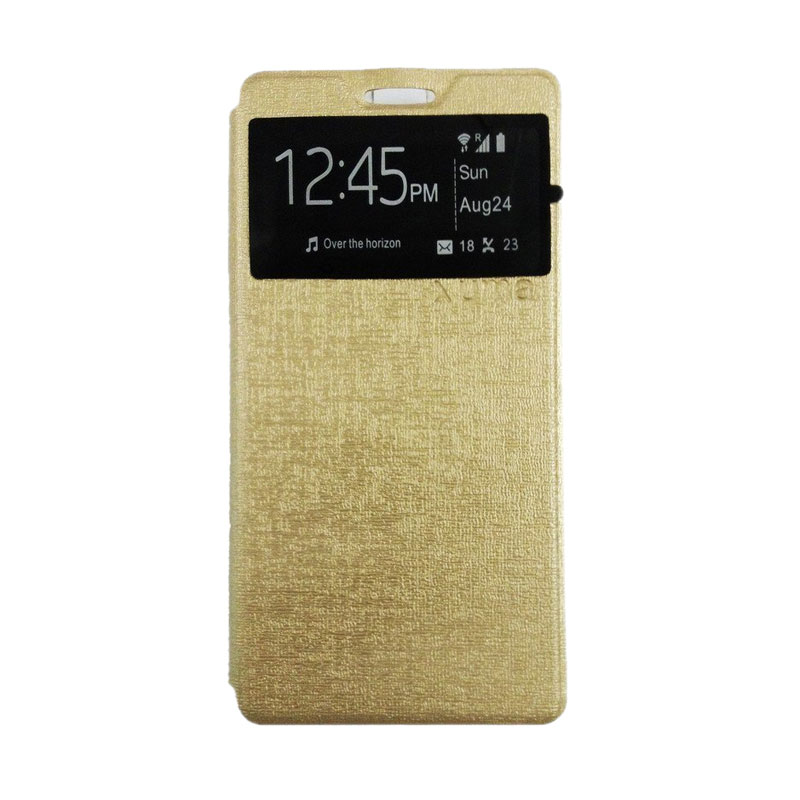 Ume Flip Cover Casing for Xiaomi Redmi Note - Gold