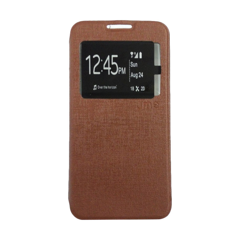 Ume Flipcase Flipshel Leather Case Flip Cover Casing for Vivo Y28 - Cokelat