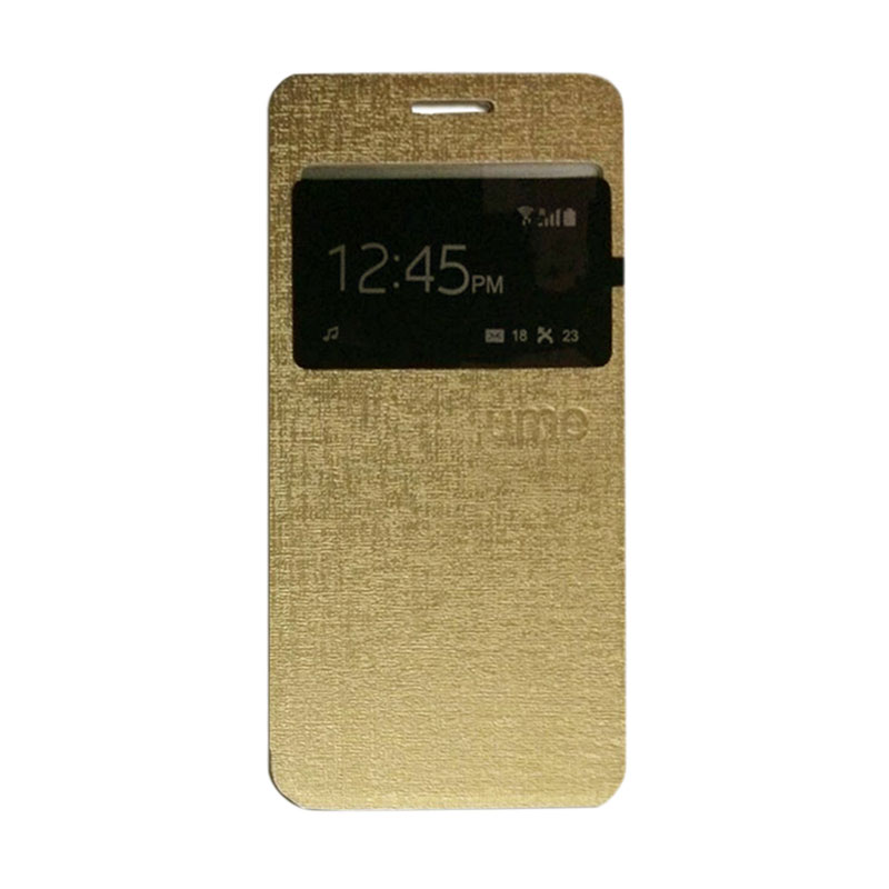 harga Ume Flip Cover Casing for Huawei Y3C / Y3 / Y360 Flipshell / Leather Case / Sarung HP / Sarung Handphone / View - Emas Blibli.com