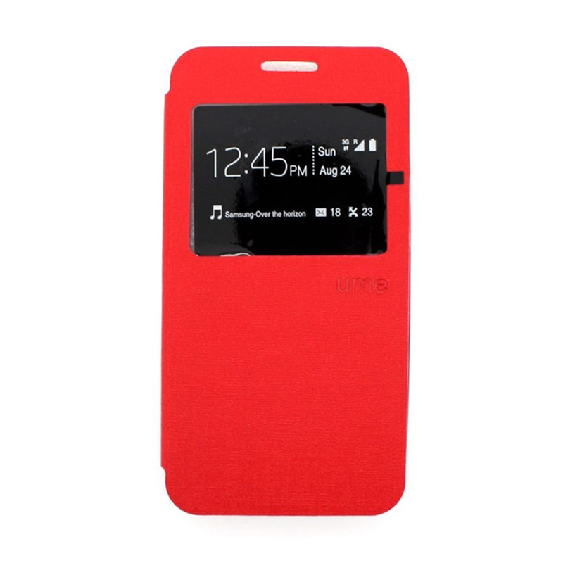 Ume Leather Flip Cover Casing for Asus Padfone PF 500 KL - Merah