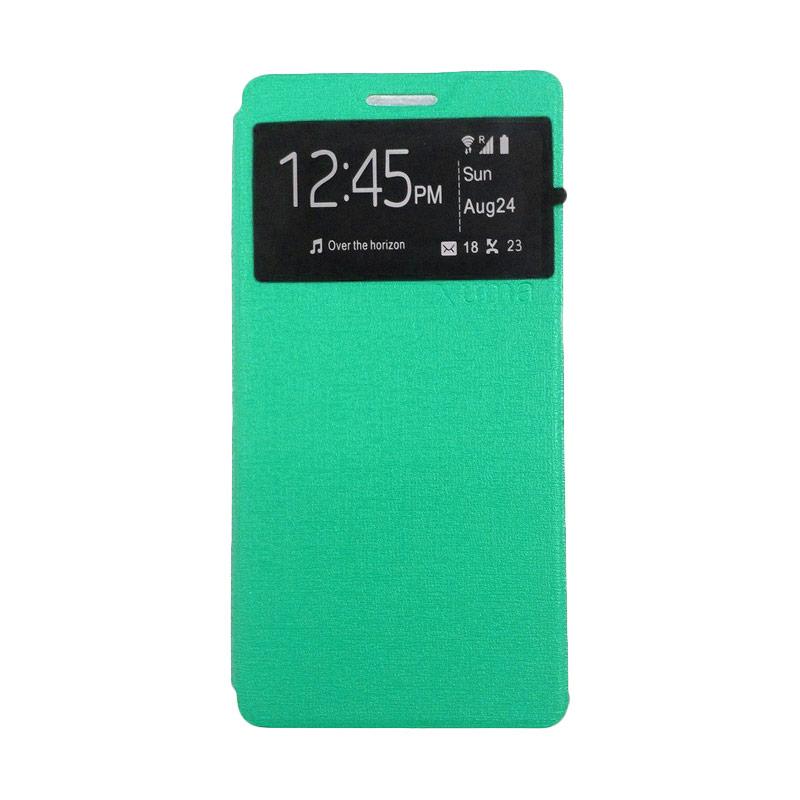harga Ume Leather Flip Cover Casing for Lenovo A7010 A7000 Plus - Hijau Toska Blibli.com