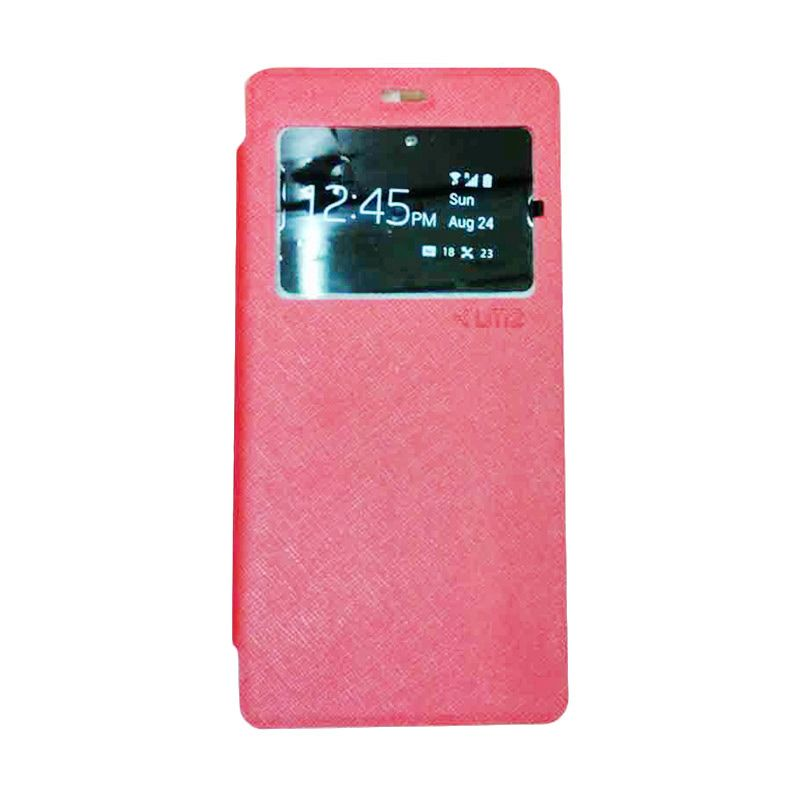 UME USA Flip Cover Casing for Lenovo P70 Flipshell / Leather Case / Sarung HP / Sarung Handphone / View - Pink