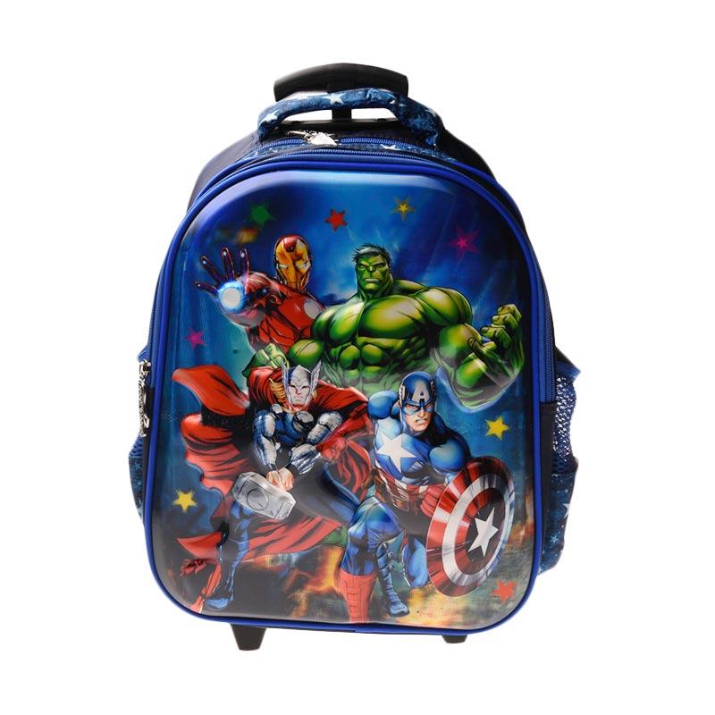 Unico 1HA Hologram small Avengers Blue Tas Trolley Anak
